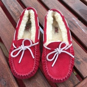 UGG red fur lined slippers moccasins. Sz 13